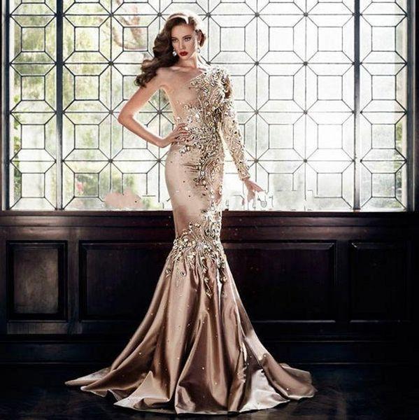 2019 Luxury Zuhair Murad Crystal Evening Dresses Abaya In Dubai One Shoulder Rhinestone Formal Gowns Muslim Long Sleeve Gold Prom Dresses