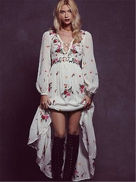 Cotton V-neck flower embroidery long-sleeve dress fashion good quality super value long loose style