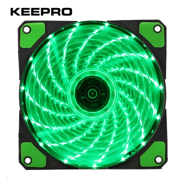 Wholesale- KEEPRO Original 15 Lights 4 Color LED PC Computer Case Heatsink Cooler Cooling Fan DC 12V 4P 3P 120mm Red Green White Blue
