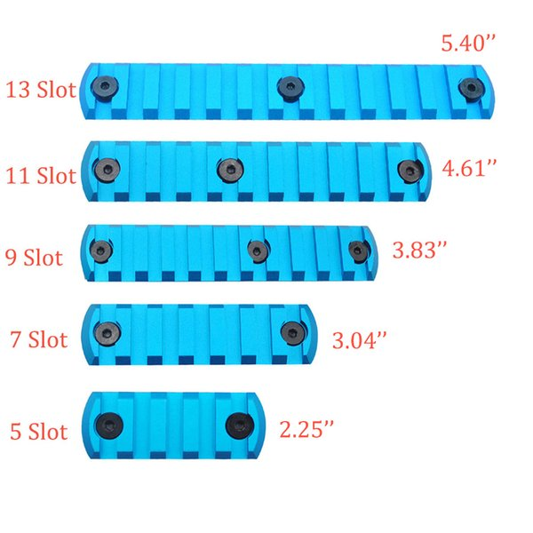 Blue Anodized 5,7,9,11,13 Slots Picatinny/Weaver Rail Sections for Key Mod Handguards System Aluminum Free Shipping