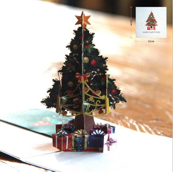 Noel Elişi Kartları Xmas 3D Pop-up Tebrik Kartı Festivali, Doğum Günleri, Teşekkürler Giving day, Yıldönümü Merry Christmas Origami
