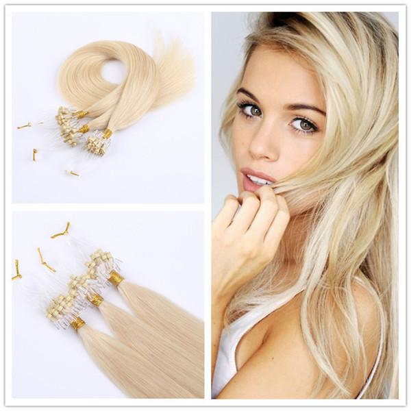 Extensiones de cabello de bucle 100pcs paquete sedoso recto brasileño micro anillo del cabello enlaces extensiones de cabello