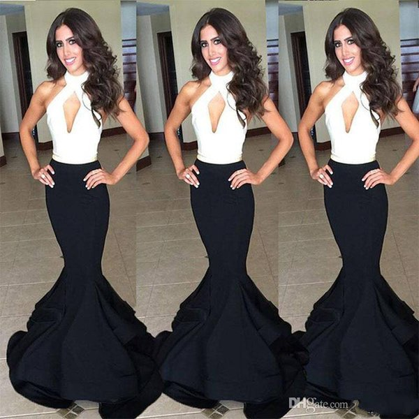 Classic Black And White Prom Dresses Sexy Halter Backless Women Formal Dress Vestidos Longo Mermaid Long Evening Party Gowns 2018 Custom