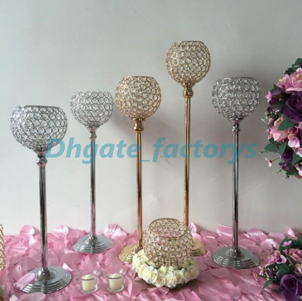 Wholesale-Top selling 73cm silver and gold K9 crystal candle holder centerpieces, crystal glass candle holder, wedding candle holder
