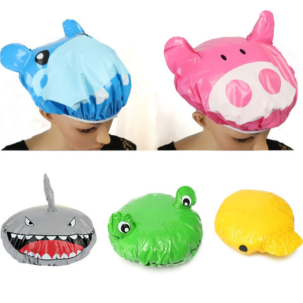Wholesale- New Stylish Cute Cartoon Animal Design Waterproof PVC Elastic Spa Shower Cap Hat Bath Hair Cover Protector Hats Bathroom Product
