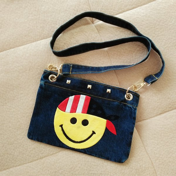 2017 New Fashion Women Casual Individuality Denim Shoulder Bag Womens Mini Oxford Cartoon Printing Smiling Face Crossbody Bags