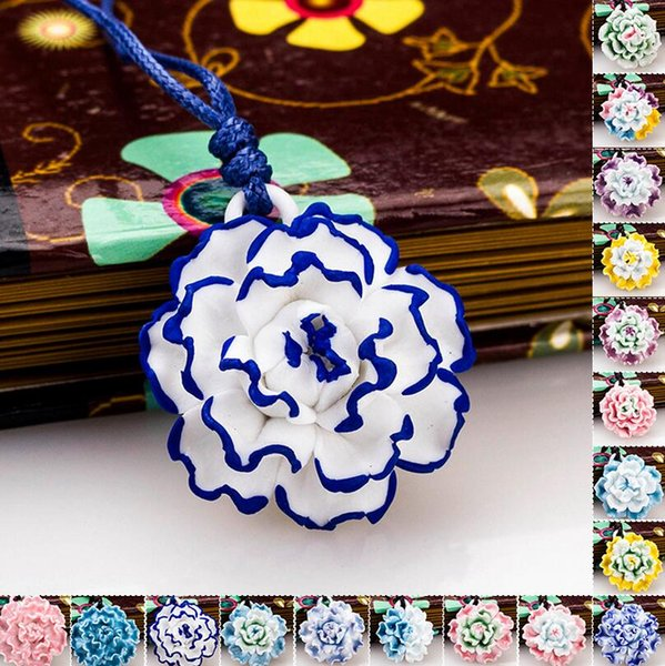 Brand new Ceramic national wind necklace traditional pinch flower hand peony peony WFN477 (with chain) mix order 20 pieces a lot