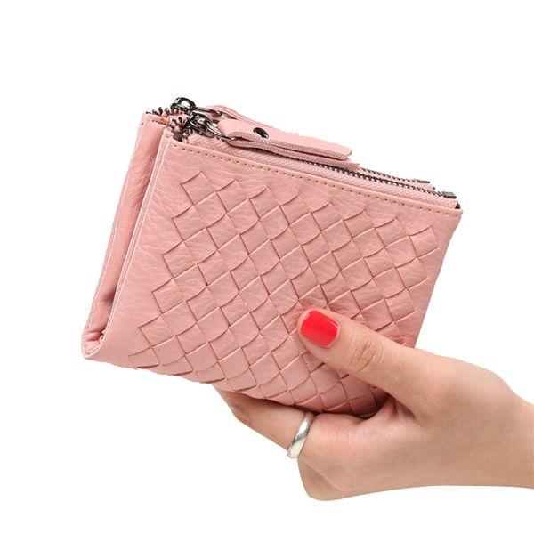 Wholesale- Bifold Zipper Women Wallets Small Purse Coin Pouch Clutch Wallet Money Coin Bag 2017 Fashion Brand Designer Female Wallets Short
