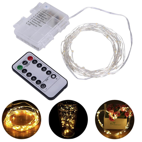 top popular 5M 10M LED String Lights 8 Modes Remote Control Flexible Wire Waterproof led lights for Christmas Holiday Party wedding Decorate 2020