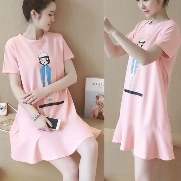 2017 Summer New Cute Cartoon Character Printing Maternity Clothes Short - Sleeved Pregnant Women Pink Loose Dress