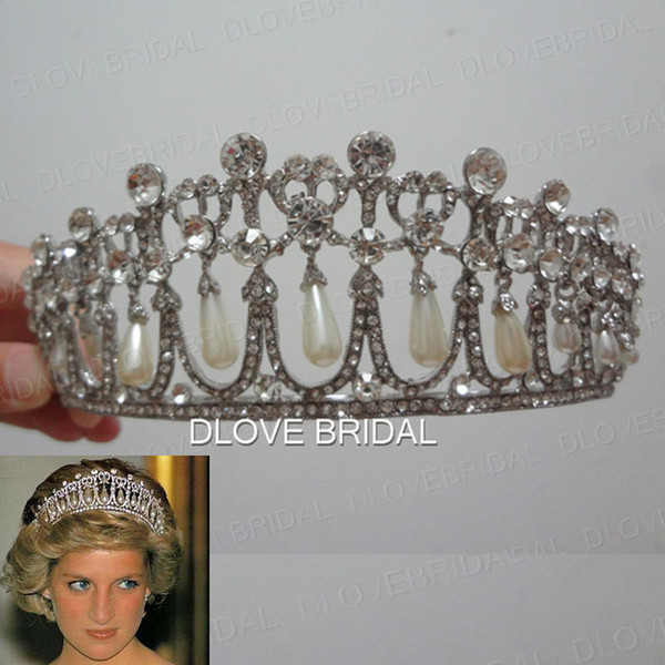 Shinny Princess Diana Same Pearl Crown Crystal Tiara Bridal Jewelry Wedding Party Hair Accessory with Real Image High Quality Free Shipping