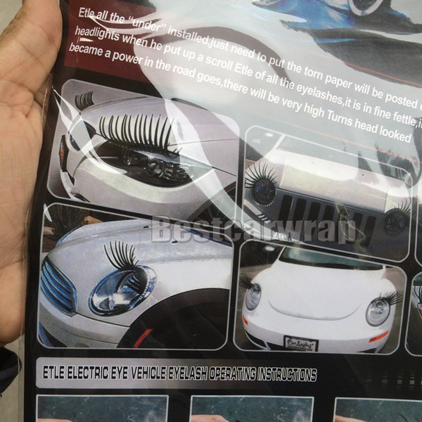 Noir 3D automobile phare de voiture cils de voiture cils auto 3d cils 3D voiture logo autocollant 100 PCS (= 50 paires) DHL livraison gratuite