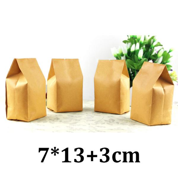 7cm 13cm single side seal food grade packaging side gusset brown kraft tea bag