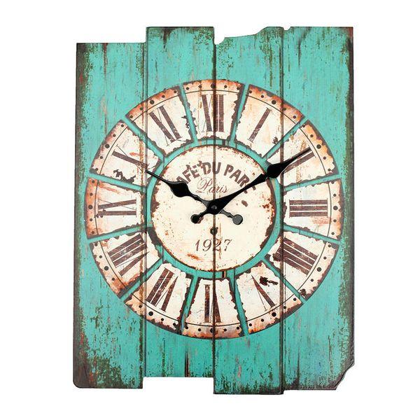 Großhandels-Durchmesser 29cm Weinlese-rustikales hölzernes Büro-Küche-Haus Coffeeshop-Bar-große Wand-Uhr-Dekor 41x35x45cm