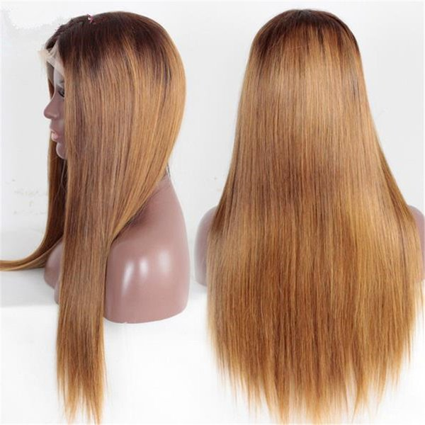 Celebrity Wigs Full Lace Wig Hot Selling Two Tone #2/30 Silky Straight Brazilian Ombre Lace Front Wig for Black Woman Free Shipping