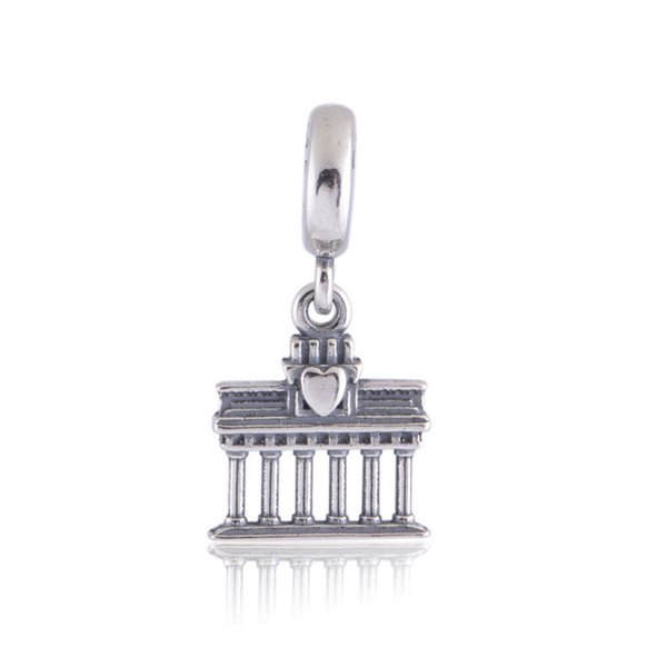 Authentic 925 Sterling Silver Beads Brandenbung Gate Dangle Charm Fits European Pandora Style Jewelry Bracelets & Necklace 791081