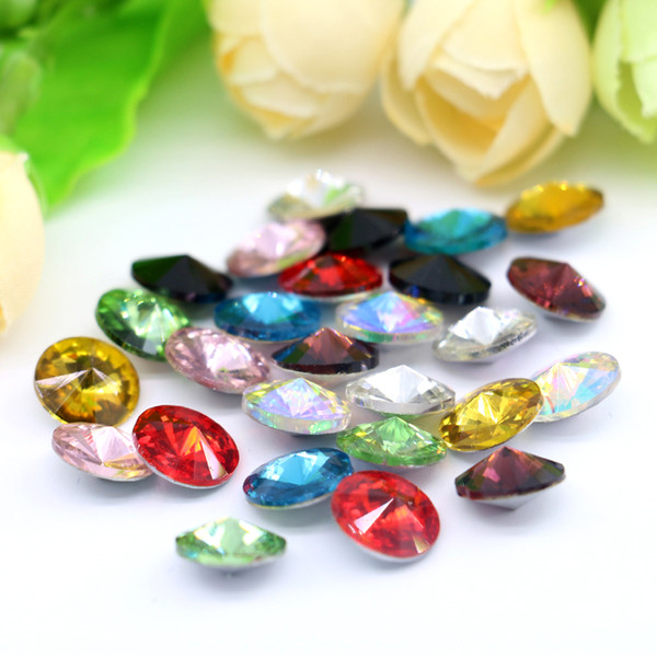 14mm Rivoli Fancy Stone Point Back K5 Glass Crystal Silver Foiled Gemstone For Jewelry Making 50pcs/bag (10 Different Color Available)