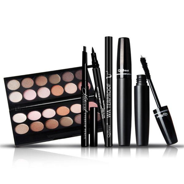 Wholesale-Professional Brand Makeup Sets 12Colors Eye shadow +Black Eyeliner+Eyebrow pencil+3D Mascara Make Up Beauty Cosmetics Kits