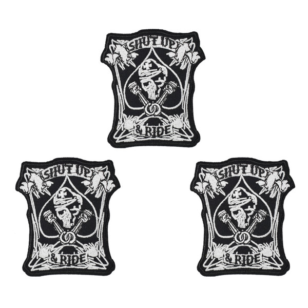1PCS Punk Shut up Skull Patches for Motor Clothing Iron on Transfer Applique Patch for Garment Jacket DIY Sew on Embroidery Badge