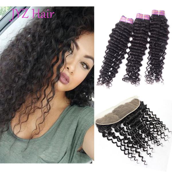 Cabello humano indio Deep Wave 3 paquetes con 1pc encaje frontal Tramas para el cabello con extensiones de cabello teñibles sin procesar