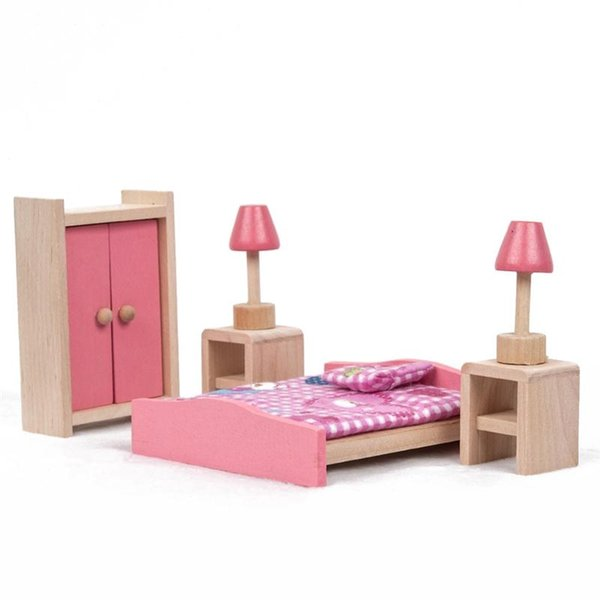Wholesale  Wooden Furniture Dolls House Miniature Bedroom Learn Toys Gift  For Kids Children