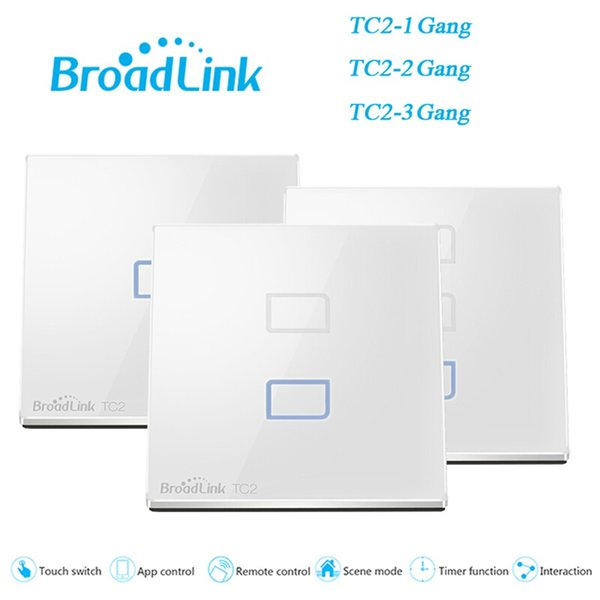 Wholesale-EU/UK Standard BroadLink TC2 1 2 3 Gang Smart Switch Wall Light Lamps Touch Screen Wireless WiFi Remote Control Home Automation