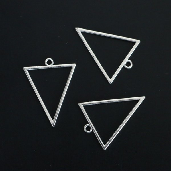 Jewelry Findings Vintage Silver Alloy Triangle Frame Charms fit Necklace Earring Pendant 35*27MM 60pcs/lot