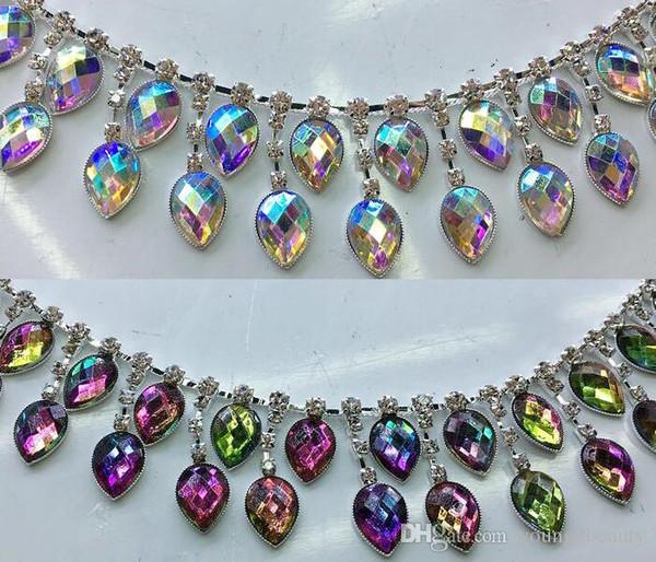 Los 90cm / lot de la manera AB colorida acryl lágrima-cristalina strass cadena strass franjas para la decoración del vestido del baile de la ropa.