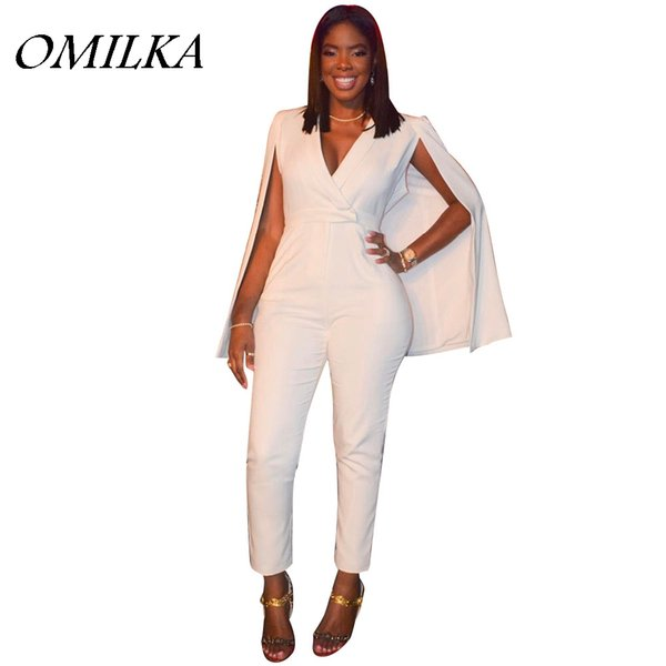 OMILKA 2017 Summer Women Cloak Cape Bodycon Rompers and Jumpsuits Sexy White Long Sleeve High Waist V Neck Club Party Overalls