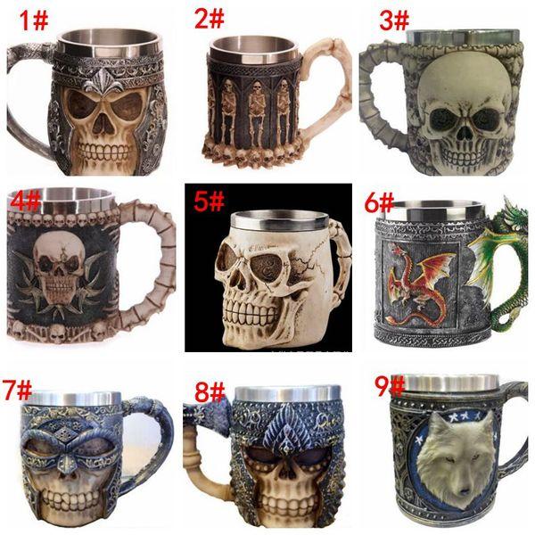 3D Striking Skull Warrior Krug Viking Skull Bierkrug 3D Skull Dragon Kaffee Tee Flasche Krug Edelstahl Cup 9 Design KKA1779