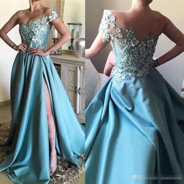 Sexy One Shoulder Lace Prom Dresses 3D Floral Appliqued Pearls Side Split Formal Evening Gowns Vintage Satin Party Dress