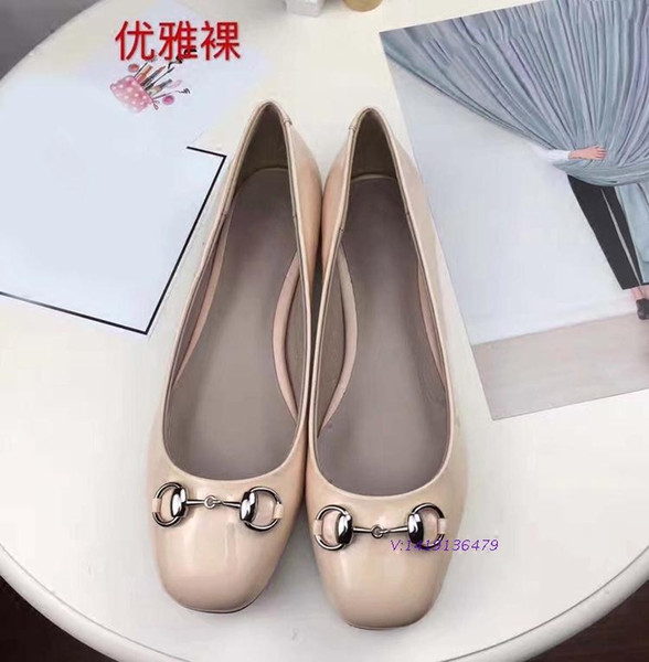 Free shipping genuine leather sheepskin classic horsebit low heels ballerinas women's kitten heel
