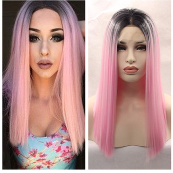 Fast shipping Black Ombre Pink Silky Straight Synthetic Lace Front bob Wig short wig Heat Resistant For Black White Women