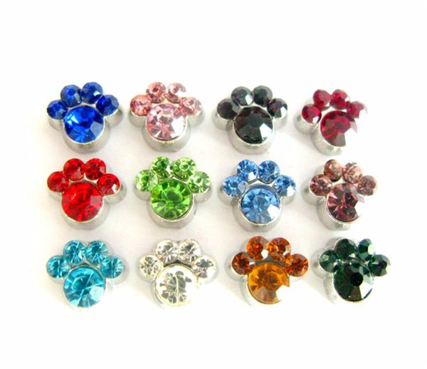 12pcs/lot FC828 DIY accessories paw Birthstone Floating Charms For Glass Living Locket Free shipping DIY jewelry making