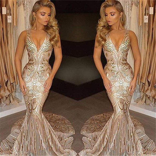 2018 new luxury gold prom dre e mermaid v neck african prom gown ve tido pecial occa ion dre e evening wear