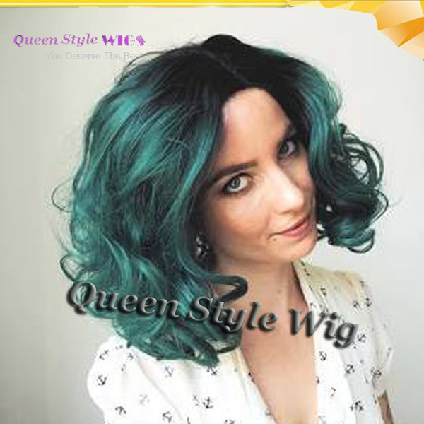 2017 Pop Two Tone Black Roots Ombre Dark Green Blue Color Short Hair Synthetic Lace Front Wig Glueless Lace Front Wigs for Woman