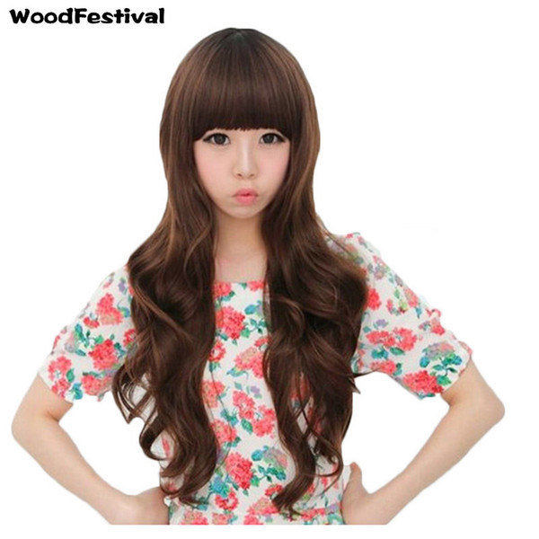 WoodFestival long wavy wig fashion girls synthetic wigs brown black neat bangs natural cheap hair wig fiber