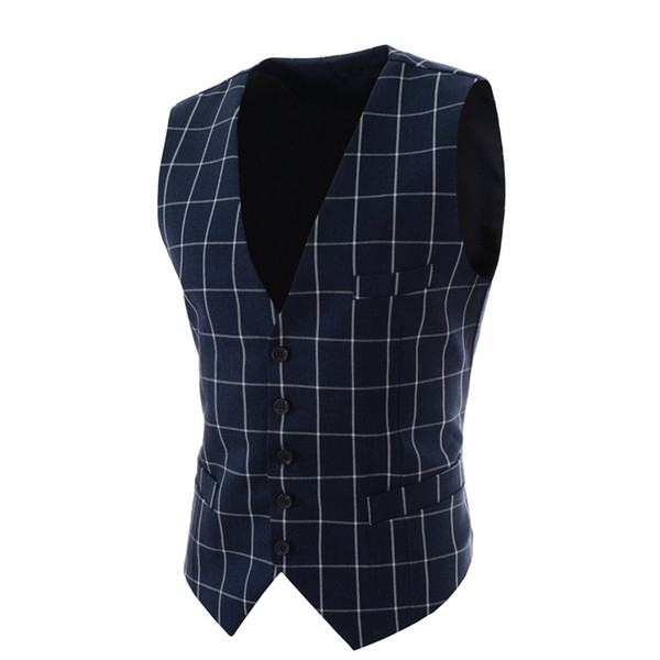 Wholesale- 2016 Slim Fit Mens Waistcoat New Casual Suit Vest Men Plaid Style Men Chalecos Hombre Business Dress Vest Sleeveless Gilet MQ1
