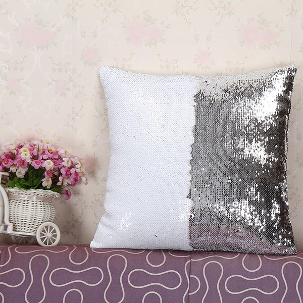 Wholesale- Pillow Case Fashion Luxurious two tone sequin covers continental mermaid decorative pillow case DIY case YL602715