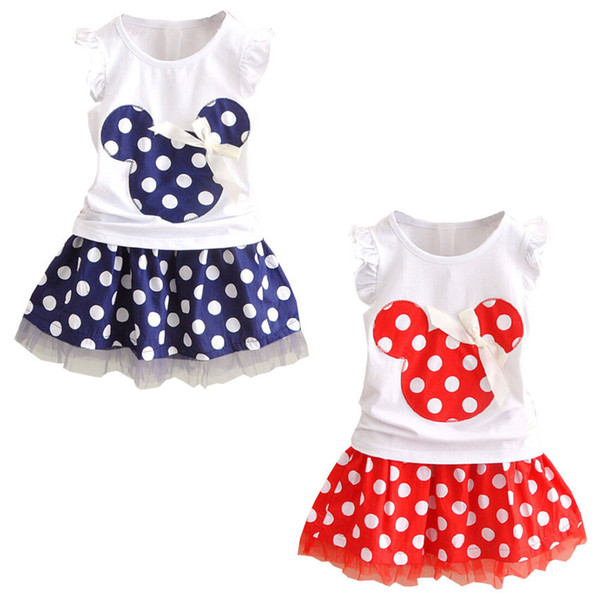 Wholesale- Summer girls clothing set 2pcs suits Baby Kids clothes Sleeveless Tops + skirt Children Outfits Girl dress for age 0-4Years
