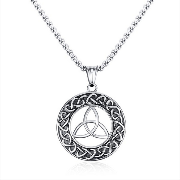 Mens Necklaces Stainless Steel Vintage Irish Celtics Trinity Love Knot Round Triquetra knot Pendant Necklace Jewelry PN-708