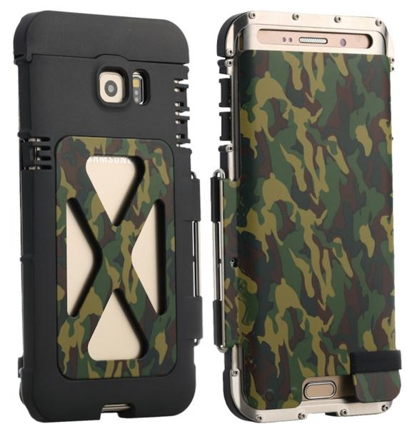 Phone Case for Samsung Galaxy S6 edge S6 edge plus Camouflage green Shockproof Metal Cover Clamshell Armor King