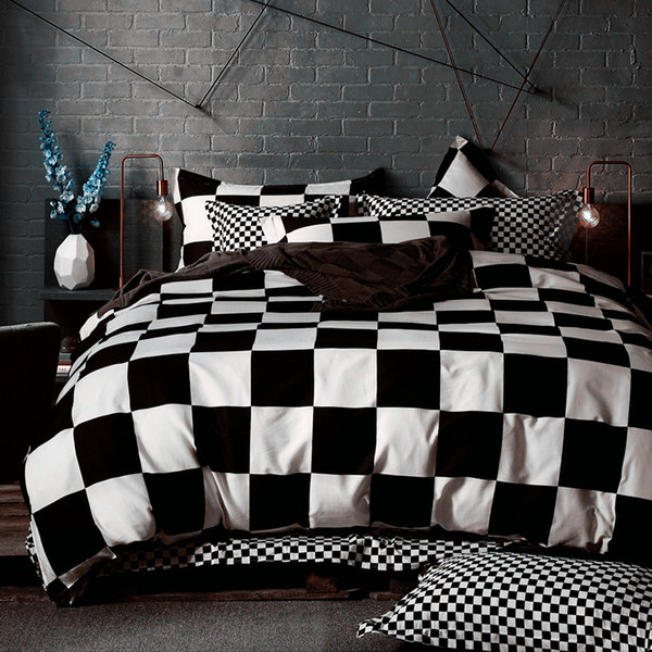 Wholesale- Black White Bedding sets King Queen Duvet Quilt cover set Linens Russia USA Size,Bedroom Bedding Home Textiles