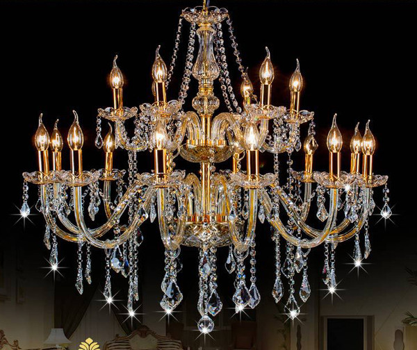 Free Shipping AC110V/220V Noble Luxurious Export K9 Clear Crystal Chandelier 6/8/10/12/15/18 Arms Export Class A K9 Crystal