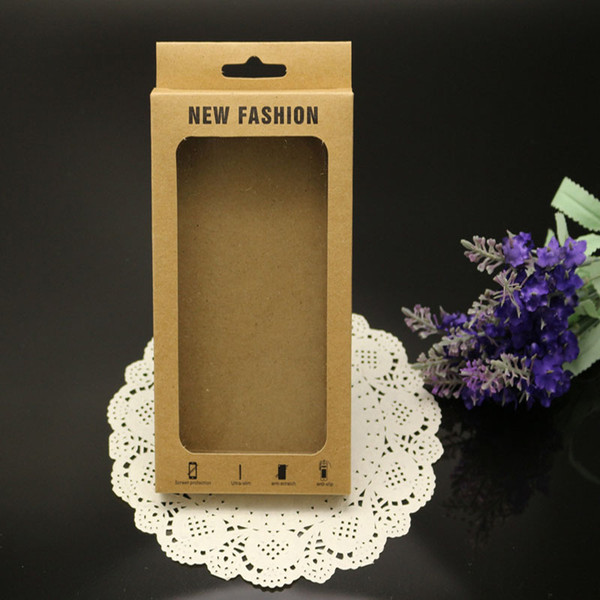 Five type of Mobile Case Retail Packaging New+Hang Hole Kraft Paper Package with PVC Window for iphone 6 samsung s4 s5 Pouch Case