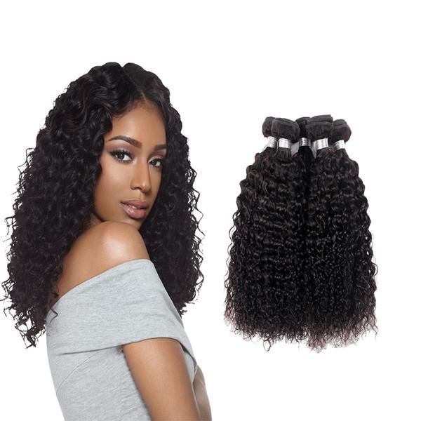 7A unverarbeitetes Afro Kinky Curly Weave Menschenhaar malaysisches lockiges Haar Naturschwarzes 3-teiliges reines Remy Haar