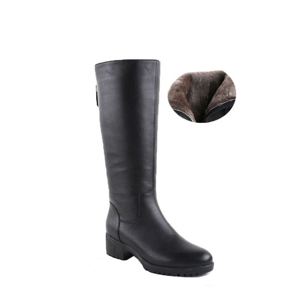 Stivali invernali in pelliccia di lana all'interno di scarpe calde Donne di lusso in vera pelle scarpe fatte a mano Russia Stivali Calzature Botas