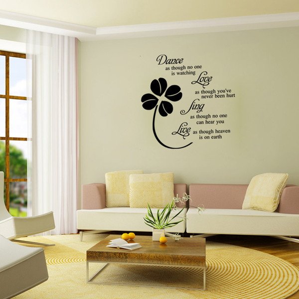 AW9125 Dance Love Live Quote Wall Sticker Leaves Flowers Wall Decals Home Decals For Fanily Quote Love