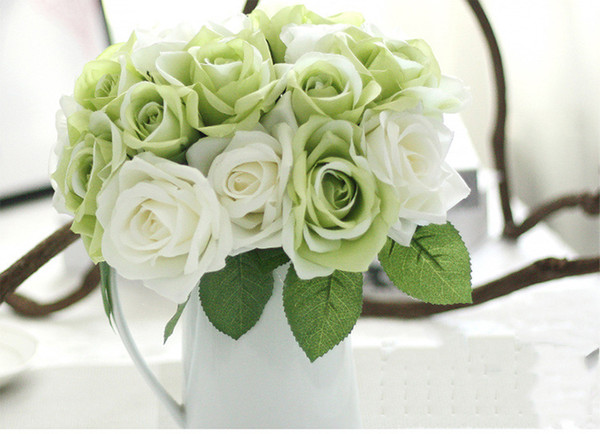 Wholesale Free Shipping artificial white bridal bouquets Hand Tied white red silk rose for wedding and home desk or hotel decoration
