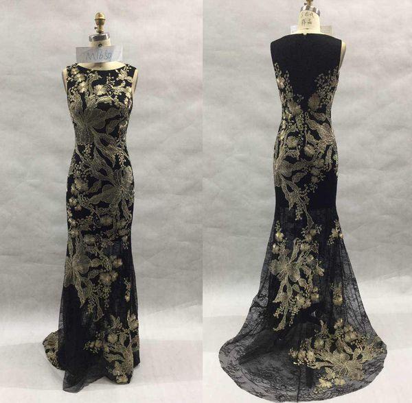 Black Prom Dresses Long Evening Dresses Sparkle A Line Gold Beaded Appliques Chiffon Evening Gowns dress gown